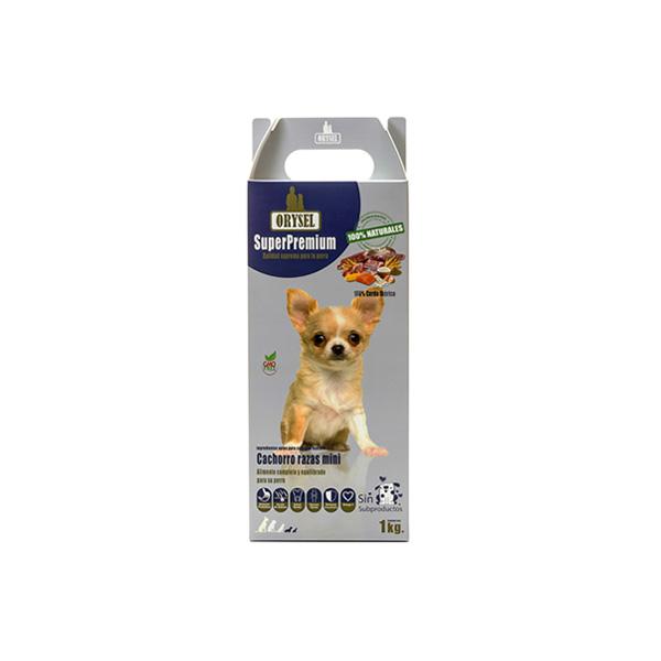 Pienso Orysel Cachorros razas mini 1 kg imagen frontal caja